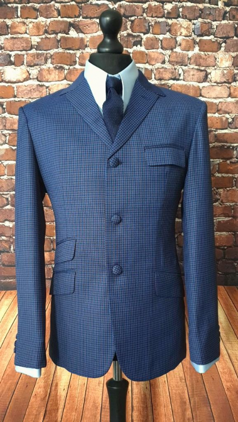"""Johnny""  Puppytooth Blue Navy & Red Check Three Button Suit"